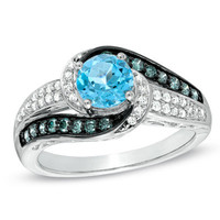 6.0mm Swiss Blue Topaz and 1/3 CT. T.W. Enhanced Blue and White Diamond Ring in 10K White Gold - View All Rings - Zales