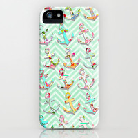 Mint & White Chevron Stripes Vintage Floral Anchors iPhone & iPod Case by Girly