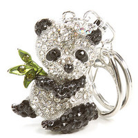 The *Accessories Boutique Bejeweled Panda Keychain in silver