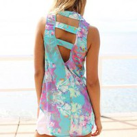 Pastel Swirl Print Button Down Sleeveless Tank with Cutout B