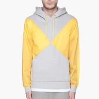 adidas Originals By O.C. Grey And Yellow Pieced X Fleecy Hoodie for men | SSENSE