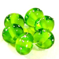 Transparent Dark Grass Green Handmade Lampwork Glass Beads Fine Silver