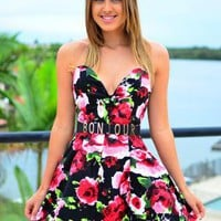 Floral Print Strapless Dress with Plunge Bodice Top