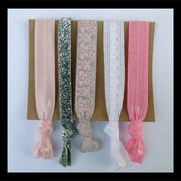 5 Elastic HAIR TIES Pink, white and Gray Damask Set, Ballet Collection, Silver Glitter, Variety, No Tug, No Dent,  Yoga