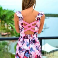 Floral Print Cutout Romper with Criss Cross Back Detail