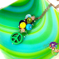 Rainbow Peace Necklace made in Hawaii, Hippie jewelry by Mermaid Tears