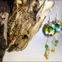 Butterfly Wing Dichroic Glass and Swarovski Crystal Silver Earrings