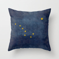 "Alaskan State Flag, ""Distressed version"" Throw Pillow by Bruce Stanfield"