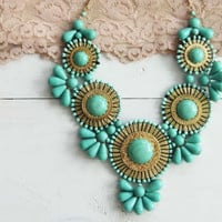 Bohemian Romance Necklace in Mint, Women&#x27;s Sweet Country Inspired Jewelry