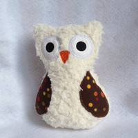 Cream Softie Plush Owl with brown wing with circles of orange green yellow and red
