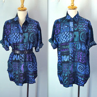 Vintage 80s Blouse / Slouchy Rayon Shirt / Abstract Print