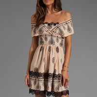 Anna Sui Cameo Border Print Mesh Dot Jacquard Dress in Black Multi from REVOLVEclothing.com