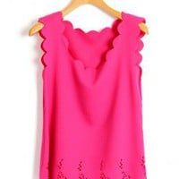 Scallop Edge Roseo Tanks in Chiffon