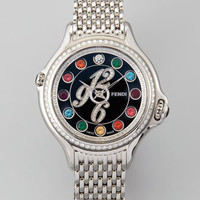Crazy Carats Black Dial Pave Diamond Topaz & Diamond Watch, White/Multicolor/Pink
