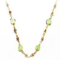 "FABULOUS JADE GREEN ASIAN GOLD TONE NECKLACE & BEADS 23.5"" INCH *FREE GIFT BOX*"