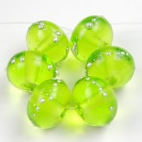 Light Grass Green Handmade Lampwork Glass Beads Fine Silver Shiny SRA
