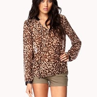 Wild Faux Leather Trimmed Blouse
