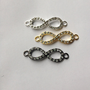 Choose ONE Mini Crystal Infinity Charm Jewelry Rhinestone Connector Arm Candy Making Bracelet Earring Craft DOLLAR SHIP in us