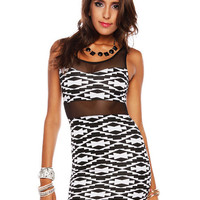 Papaya Clothing Online :: MESH YOKE AZTEC DRESS