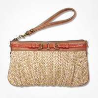 RUCHED STRAW DOUBLE BUCKLE WRISTLET