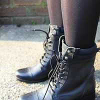 Black Kangol Leather Boots UK 5 from The Black Market