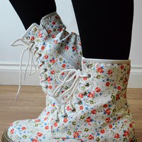 Lace Up Biker Ankle Boots - White Pink / Red Floral Flowers from Fashion Thirsty