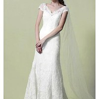 [289.99] Sexy Tulle & Satin With Lace Appliques A-line V-neckline Cap Sleeves Beaded 2013 Wedding Dress - Dressilyme.com