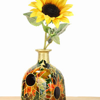 "Hand Painted Glass ""Patron"" bottle Sunflower design Summer  Home Decor - Decorative Glass Art"