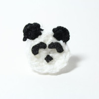 Panda ring. Crochet animal jewelry. Cute novelty ring.
