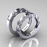 Modern Italian 14K White Gold Diamond Wedding by DesignMasters