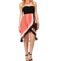 Black/White/Coral Hi Lo Dress