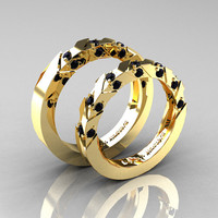Modern Italian 14K Yellow Gold Black Diamond Wedding Band Set R310BS-14KYGBD