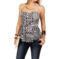 Black/White Tribal Print Peplum