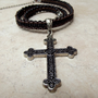Father's Day Jewelry:  Men's Large Cross Necklace, Black & Chocolate Brown Leather Macrame Cord Unisex Jewelry