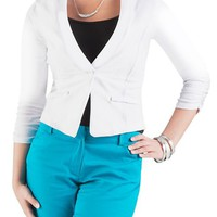 Rouched Long Sleeve 1 Button Blazer: Dots.com