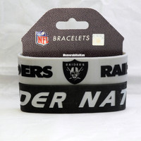 Oakland Raiders Silicone Rubber Bracelet Set 2 Pack NFL
