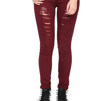 ChiQle Maroon Distressed Skinny Jeans | Hot Topic
