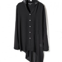 Asymmetric Black Chiffon Blouses with Leather Insert