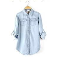 Long Sleeves Denim Slim Blouse