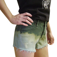 Serge And Destroy Low Rise Ombre Dip Dyed Retro Green Shorts 28W