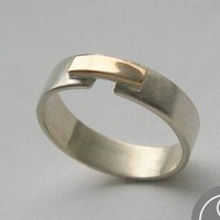 Sterling silver and 14K gold band bridg