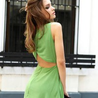 Starry sexy halter green chiffon dress
