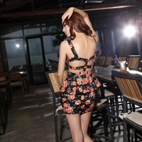 Starry Floral Peplum Dress Black