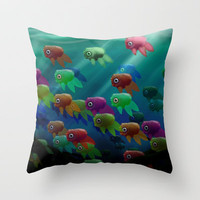 Swim On By Throw Pillow by Ben Geiger