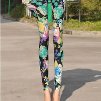 Retro Skinny Flower Print Legging