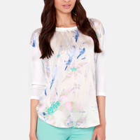 Japanese Garden White Floral Print Top