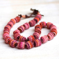 Beaded wrap bracelet / necklace - colorful artisan boho