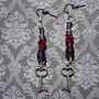 Crystal beaded dangle key earrings-Vintage- Victorian- Rustic- Purple- Red- Steampunk