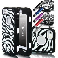 Jersey Bling (TM) Zebra Hybrid Defender Hard Back Protective Iphone 5 Case/Cover w/FREE Metallic Mini Dust Plug Capacitive Touch Stylus