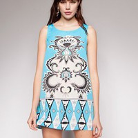 Teal tribal dress